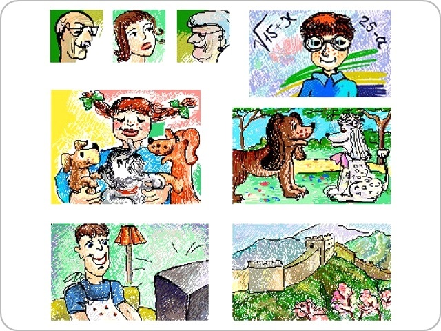 Q review - Illustrations for educational program Q grammar